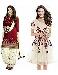 Sky Global Women's Regular Wear Dress Material And Kurti (Combo Pack Of 2)(SKY_DK_9056)(SKY_501_Red)(SKY_7006_...