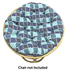 Cotton Craft - Moroccan Mosaic Printed Papasan - Teal Blue - Overstuffed Chair Cushion - Sink into our Really Thick and Super Comfortable Papasan Cushion - Pure 100% Cotton fabric - Perfect fit for your dorm, den or just about anywhere you want to be comfy and pampered - Fits Standard 45 inch round Papasan Chair - Chair not included