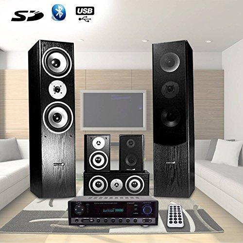 Home-Cinema 5 enceintes 850W, Ampli 2x50W + 3x20W