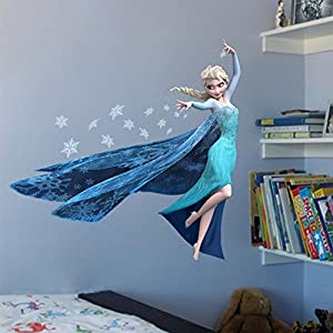 He Yang Removable Baby Room's Wall Stickers Elsa in FORZEN For Wall Stickers Home Decals Decor Living Room sayings art lettering from He Yang