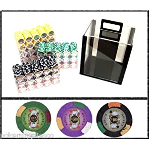 King's Casino Poker Chips | Acrylic 1,000 Poker Chip Set with Free WPT Rule Book | 14 Gram Heavy Weighted Poker Chips Picture