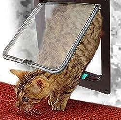 選べる カラー 4WAY ペット キャット ドア 小型 犬 猫 屋内 勝手口 扉 ペット用品 (ブラウン(M))