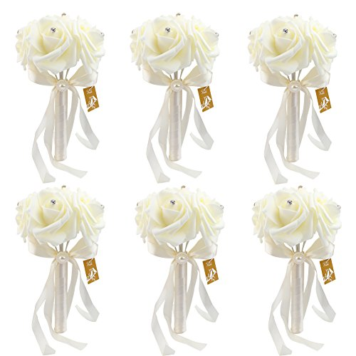 6 Bunch of Bouquet, AerWo Ivory/Beige Foam Roses Silk Ribbon Bouquet Handmade Rhinestone Diamante Artificial Flower Bridal Bridesmaid Brooch Wedding Bouquet Decoration