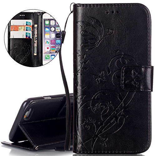 "Custodia iPhone 6s, ISAKEN iPhone 6 Flip Cover Case, iPhone 6S Wallet Cover con Strap, Elegante borsa Fiori Design in Pelle Sintetica Ecopelle PU Case Cover Protettiva Flip Portafoglio Case Cover Protezione Caso per Apple iPhone 6 4.7""/ con Supporto di Stand / Carte Slot / Chiusura - Flower: nero"