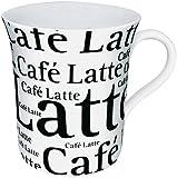 Konitz 12-Ounce Cafe Latte Writing On White Mugs, White/Black, Set of 4