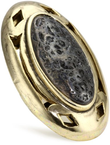 Low Luv by Erin Wasson Large Cut Out Ring with Blackened Lava Stone, Size 6