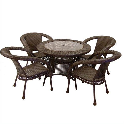 Outdoor Patio Resin Wicker Dining 5-pc. Set