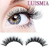 Handmade 3D luxurious 100% Real Mink Natural Long Cross False eyelashes- Luismia® reusable Makeup Crisscross Fake eye lashes Extension- Eyelash Strips (2 Pair)