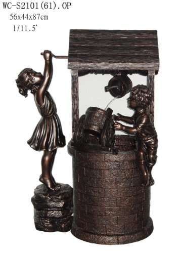 Garden Patio Indoor Outdoor Girl and Boy with Wishing Well Statue Sculpture Water Fountain 35