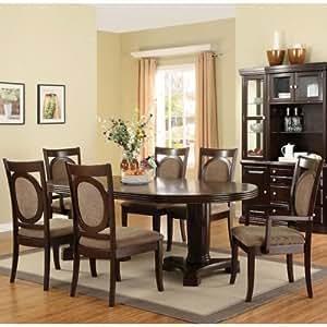 Evelyn Dark Walnut Finish Formal Dining Room Table Set Table