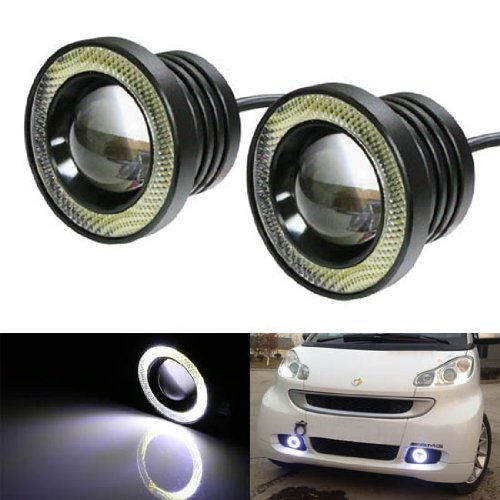 """Ijdmtoy 15W High Power 3.5"""" Projector Led Fog Lights With Cob Led Halo Angel Eyes Rings For Car Suv Truck"""