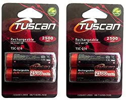 Tuscan 2 Packs of 4 pieces 2500mah AA 1.2V, Rechargeable Ni-Mh Batteries 2500 mAh AA Size