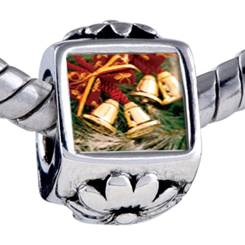 Pugster Christmas Charms Silver Plated Photo Bead Christmas Bells Photo Beads Fits Pandora Bracelet