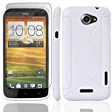 JJOnline Case Cover Skin For HTC One X - White S Line Series Silicone Gel Rubber Plus Free Screen Protector