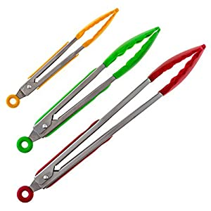 Silicone Kitchen Tongs - pack of 3, includes 9 inch Salad Tongs, 12 inch Barbecue (BBQ) Grill tongs and 7 inch Mini Tongs, - Stainless Steel Food Tongs With Silicone Tips for Extra Grip (Red, Yellow and Green)