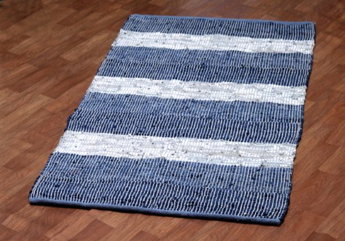 Matador Leather Chindi Handmade Rug, 9 by 12-Feet, Blue