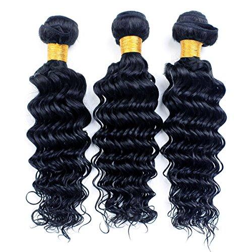 Goldenperfect Brazilian Remy Hair Deep Wave 100% Real Human Hair (242424 1# - Jet Black)