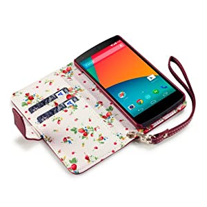 Terrapin Premium PU Leather Wallet Case/Cover/Pouch/Holster with Floral Interior for LG Nexus 5 - Red