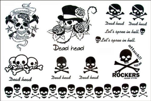 2012 latest new design new release Men and women waterproof tattoo sticker ROCK Skull wind temporary tattoo