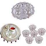 GS MUSEUM Silver Plated Rani Kumkum Plate, Silver Plated 4 Inchi Pooja Thali Nag And Silver Plated Set Of 6 Devdas...