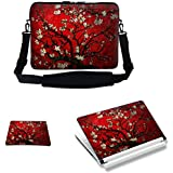 Meffort Inc 17 17.3 inch Laptop Carrying Sleeve Bag Case with Hidden Handle & Adjustable Shoulder Strap with Matching Skin Sticker and Mouse Pad Combo - Vincent van Gogh Cherry Blossoming