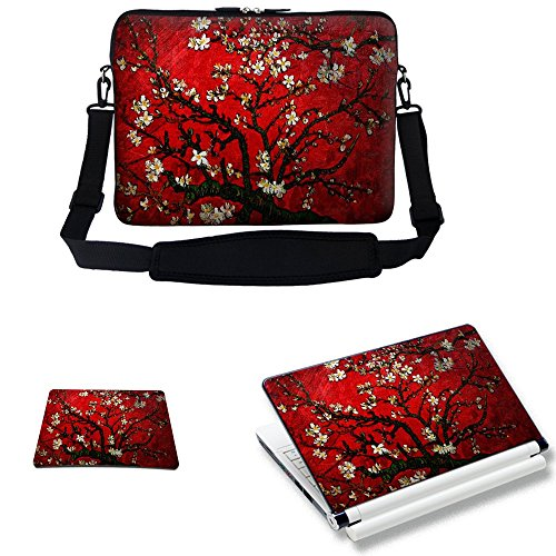 Meffort Inc 15 15.6 inch Laptop Carrying Sleeve Bag Case with Hidden Handle & Adjustable Shoulder Strap with Matching Skin Sticker and Mouse Pad Combo – Vincent van Gogh Cherry Blossoming