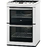 Zanussi ZCV665MWC 600mm Double Electric Cooker Ceramic Hob White
