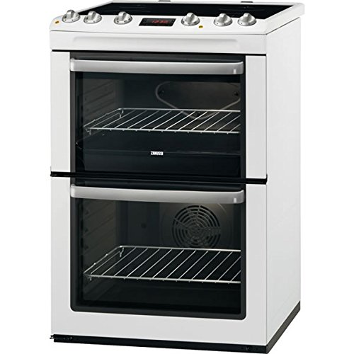Zanussi ZCV665MWC 600mm Double Electric Cooker Ceramic Hob White