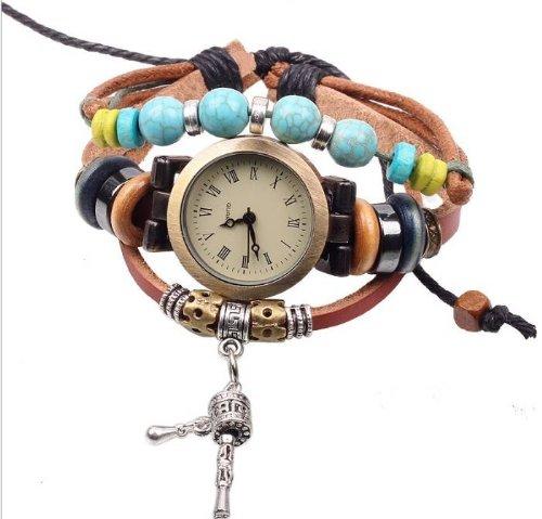 Kano Bak(Tm) Vintage Bronze Drums Pendant Retro Wrap Around Weave Woman Lady Gift Leather Watch Bracelet Wristwatch Wristband