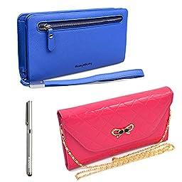 Katloo Women\'s Leather Matte Cross Pattern Clutch Wallet Wristlet Handbag Organizer w/ Detachable Hand Strap Fit iPhone 6 6S Plus , Samsung Galaxy Note 5 4 Edge S6 Edge Plus + Stylus Pen (Blue+Rose)