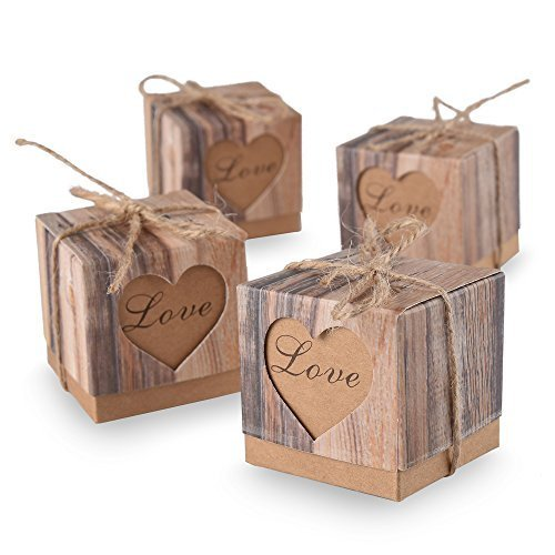 Ys2015 Candy Boxes Love Rustic Kraft Bonbonniere With Burlap Jute Shabby Chic Vintage Twine Wedding Favor Imitation Bark Gift Box 5 Cm x 5 Cm x 5 Cm Set of 50