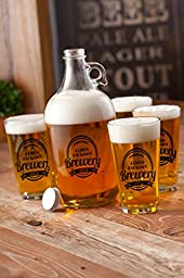 Personalized Growler w/4 Printed Pub Glasses