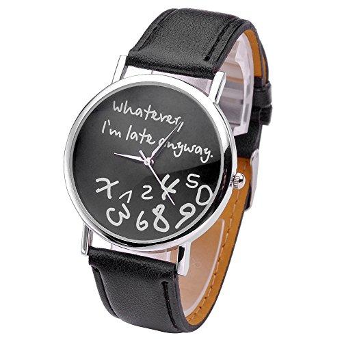 """JSDDE orologio da polso, Vintage """"Whatever, I'm late anyway"""" Illusion incisi orologio al quarzo orologio Donna Nero"""