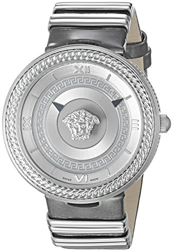 Versace-Womens-V-Metal-Icon-Swiss-Quartz-Stainless-Steel-and-Leather-Casual-Watch-ColorGrey-Model-VLC120016