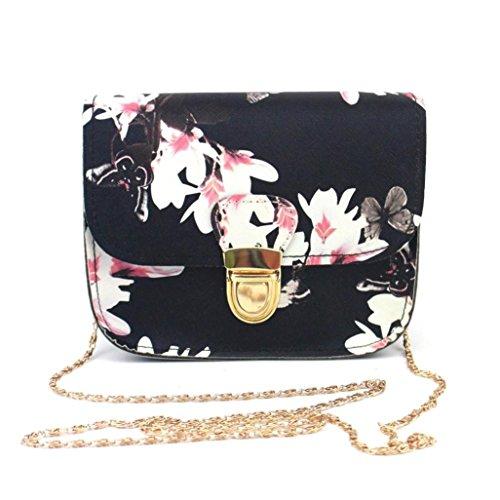 La stampa del fiore di farfalla delle donne della borsa a tracolla Borsa del messaggero,Fami (nero)