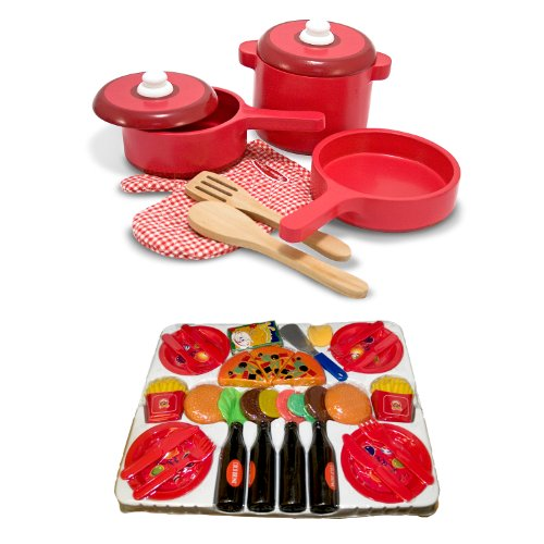 Melissa Doug Deluxe Wooden Kitchen Accessory Set With 52 Piece Play Food Bundle