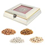 Aaina Diya In Surya Design Laser Work Wooden Handicraft Gift Box With Dry Fruits