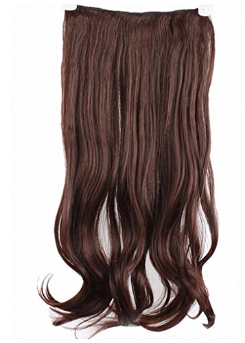 Hair Extension, RIUDA One Piece Long Curl/Curly/Wavy Clip-on 146 (LightBrown) (Conair Wavy Iron compare prices)