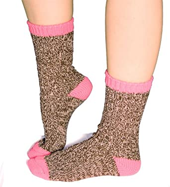 Buy Ladies Rag Crew Boot Socks in Coffee Bean Brown and Hot Pink by Crescent