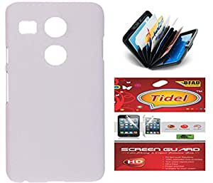 Tidel White Matte Finish Rubbrised Slim Hard Back Cover For LG Nexux 5X With CWhiteit Card & Cash Holder and Tidel screen guard