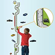 Domire Car Racing Growth Chart Height Chart Wall Decal Decor Sticker Removable Wall Decal For Baby Boys and Girls Nursery Children's Bedroom Kids Room Stickers Home Decor