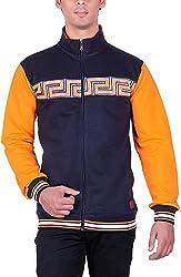 UCC Men's Fleece Regular Fit Sweatshirts (UCC7023BLACKMUSTARD-XXL)