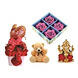 Skylofts Stylish Chocolate Basket With 4pc Diya Set & A Cute Teddy, Ganeshji Idol Diwali Combo