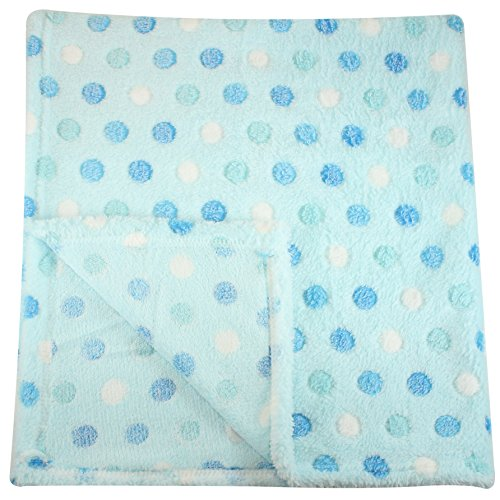 30×30 Inch Plush Fleece Baby Blanket – Assorted Colors Polka Dot Blankets by bogo Brands (Blue)