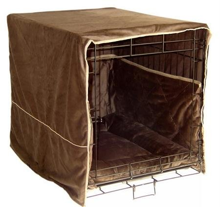 Pet Dreams Plush Indoor Dog Crate Cover Safety Bumper Pad - Large / Coco Brown front-737206