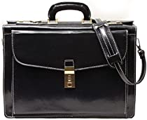 Floto Roma Litigator Briefcase in Black Italian Calfskin Leather