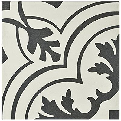 """SomerTile FRC8TWVT Fifties Ceramic Floor and Wall Tile, 7.75"""" x 7.75"""", White/Grey"""