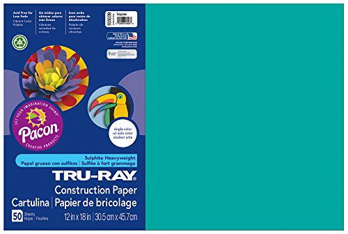 "Tru-Ray Construction Paper, 12""X18"", Turquoise, 50 Sheets - 1"