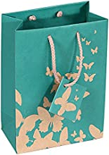 10 pcs Extra Small Green Kraft Shopping Paper Gift Sales Tote Bags with White Butterfly Print 3quot