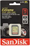SanDisk Extreme SDHC UHS-I Class 10 U3 Memory Card up to 60 MB/s Read SDSDXN-016G-G46 - 16 GB
